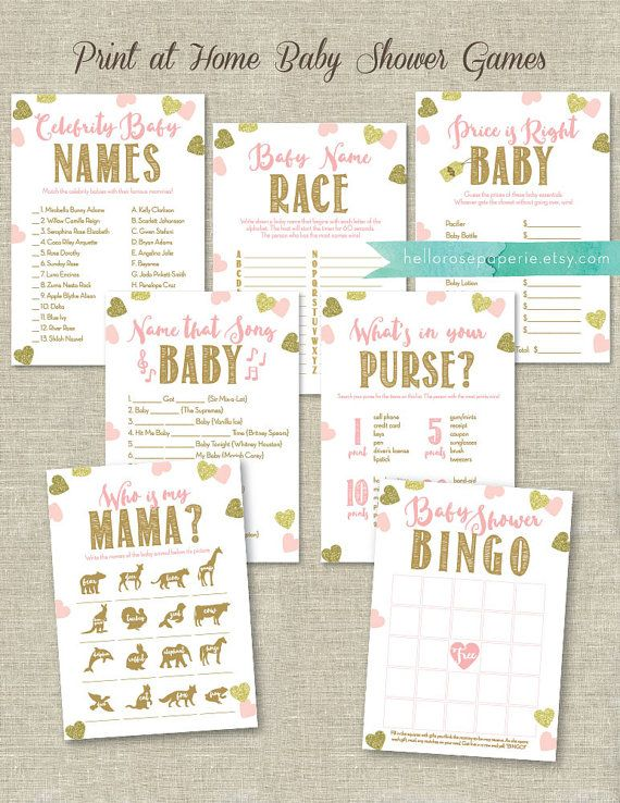 Pink and Gold Baby Shower Games Printable Set . Bundle 7 Games . Games Instant Download . Baby Shower Games Girl Printable Package