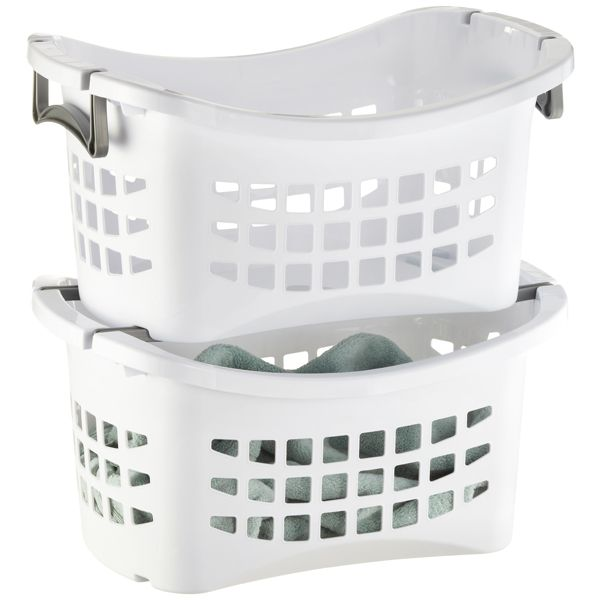 Stackable Laundry Baskets Custom White Stackable Laundry Basket With Grey Handles  Laundry Design Decoration