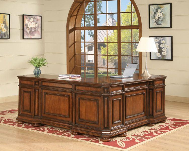 l shaped desk burnished cherryriverside - 1-800-460-0858