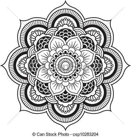 Vectors Of Henna Flower Mandala Vector Designs Henna Mehndi Flower Csp8528263 Search Clip Art Mandala Tattoo Design Mandala Coloring Pages Mandala Art