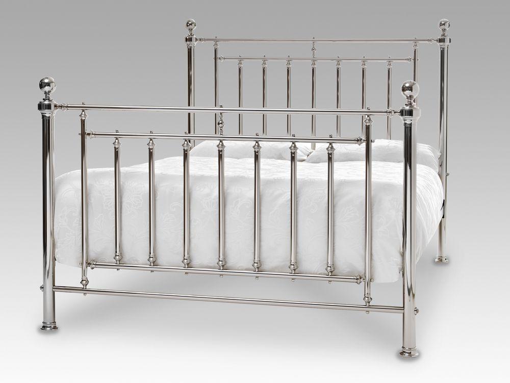 serene solomon super king size nickel metal bed frame