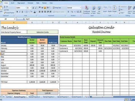 Landlords Spreadsheet Template, Rent and Expenses Spreadsheet, Short