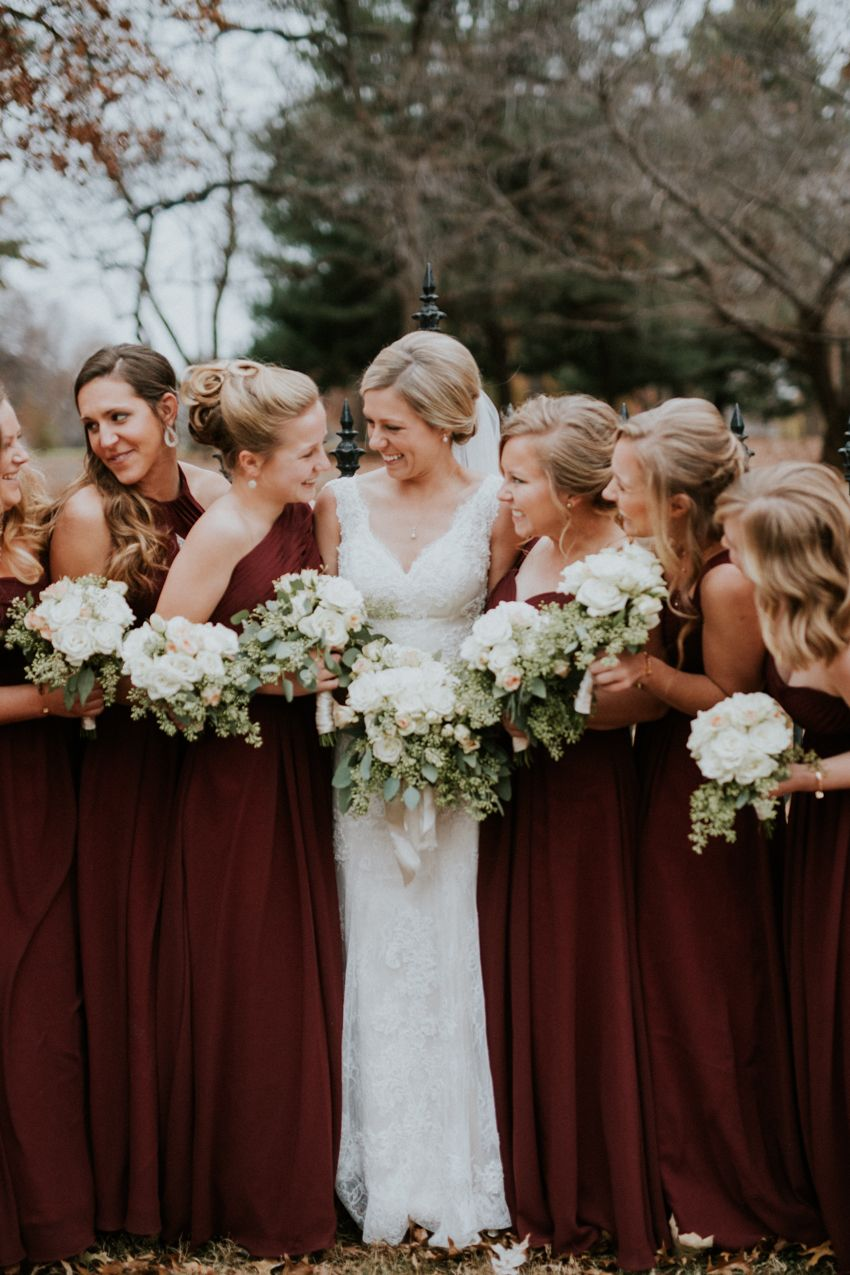 Maroon bridesmaids dresses Lafayette Square wedding, St. Louis ...