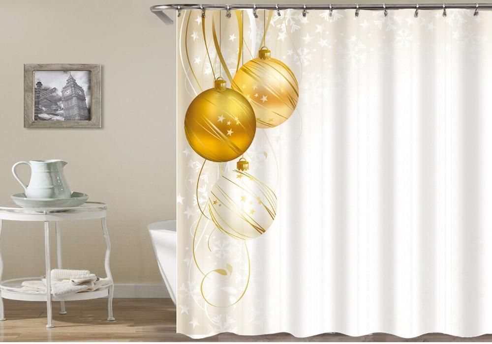 Dropshipping 3d Print Shower Curtains Waterproof Christmas Home