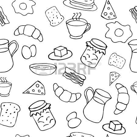 Breakfast Seamless Pattern Seamless Patterns Doodles Pattern Illustration