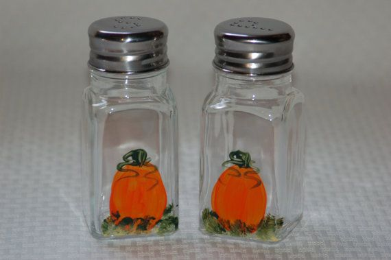 Hand Painted Glass Salt and Pepper Shakers by