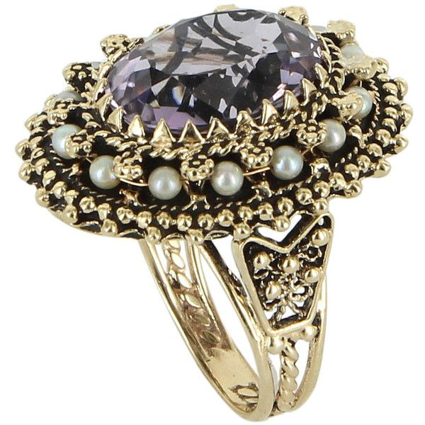 Pre-Owned Amethyst Cultured Pearl Cocktail Ring Vintage 14 Karat... (€1.035) ❤ liked on Polyvore featuring jewelry, rings, yellow gold, 14 karat gold ring, gold cocktail rings, gold statement ring, tri color gold ring and vintage rings
