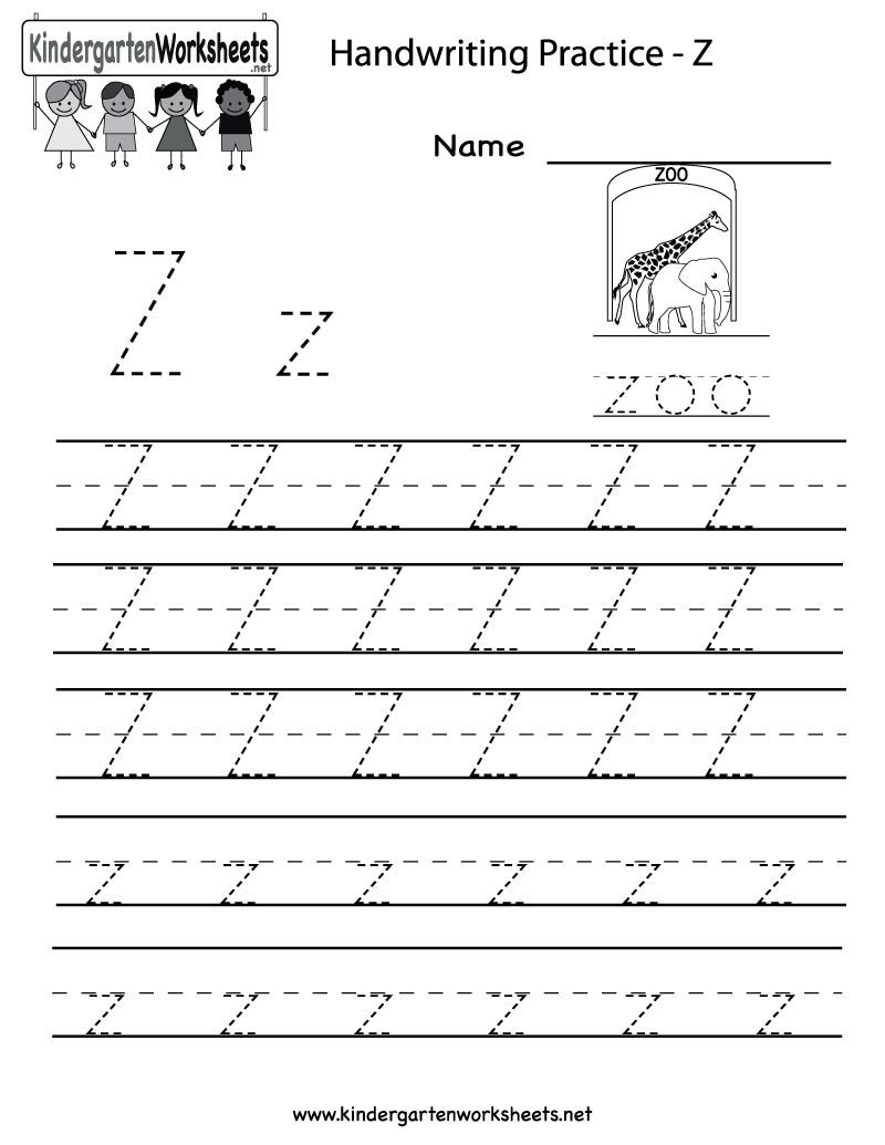 worksheet Letter Z Worksheet kindergarten letter z writing practice worksheet printable for printable