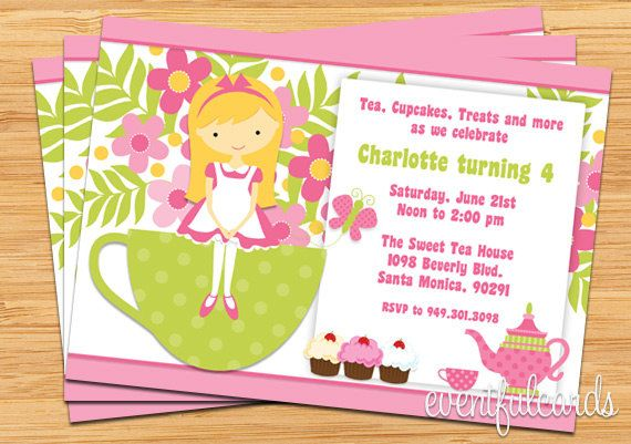 Tea Birthday Party Invitation for Kids Kids Birthday Party