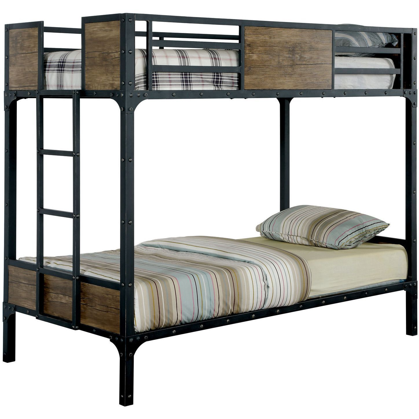 Joie Industrial Twin Over Twin Bunk Bed In Black