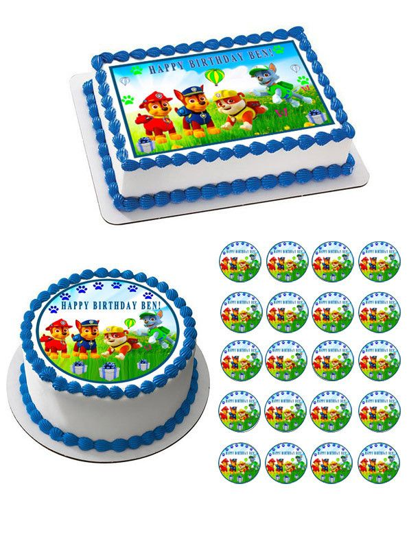 Paw Patrol (Nr5)  Edible Cake Topper OR Cupcake Topper, Decor - Paw patrol cupcake toppers, Birthday sheet cakes, Birthday cake toppers, Birthday food, Paw patrol birthday cake, Paw patrol cake - Professional Edible Cake Topper & Cupcake Toppers, kosher product  You order it today we'll ship it tomorrow, fast service