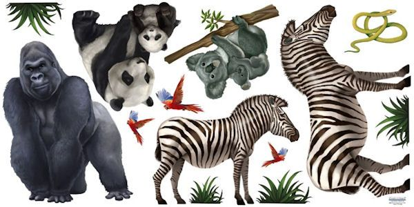 Jungle Animal Wall Mural 1 - Wall Sticker Outlet & Jungle Animal Wall Mural 1 - Wall Sticker Outlet | Wallpaper ...