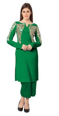 6655bf0c5e56f6 Green plain faux crepe stitched kurti green kurtis