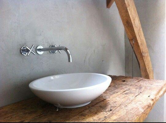 Hout, betonlook en waskom - Badkamer & Toilet.. | Pinterest - Hout ...