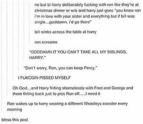 Ron wakes up to Harry wearing a different Weasley sweater every