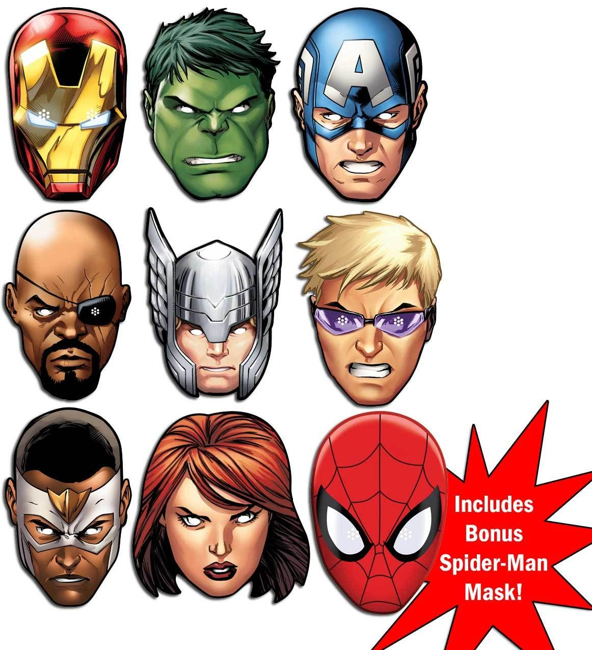 Marvel S The Avengers Ultimate Super Hero Set Of 9 Variety Face Mask Pack Iron Man Face Party Face Masks Captain America Mask
