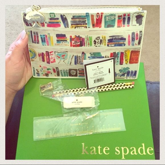 Kate Spade pencil pouch/clutch New! Flawless! Comes with ruler, eraser, 2 pencils, sharpener, and cute bag/ clutch. kate spade Accessories