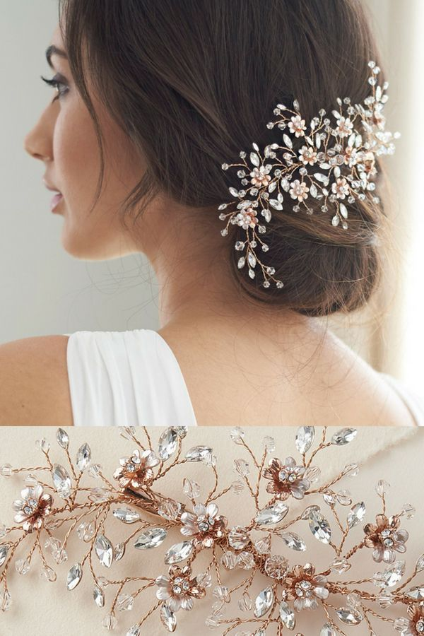 Wedding Hair Clip Blossom Is Truly Exquisite Blooming Florals Decorated With Shimmering Gems Dai Wedding Hair Accessories Hair Accessories Wedding Hair Clips