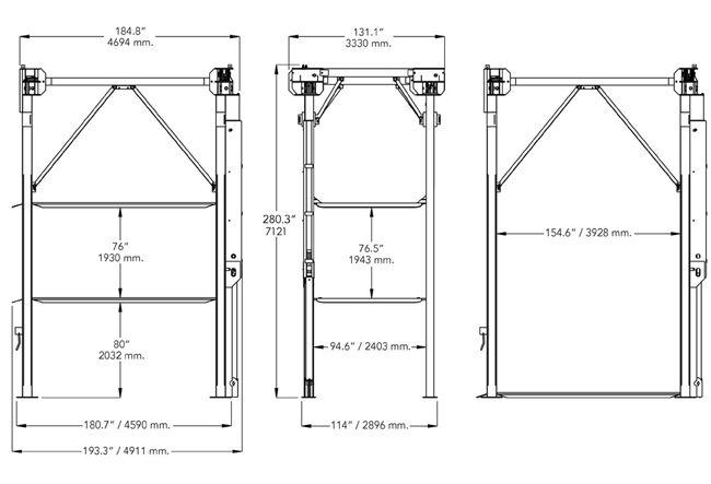 Bendpak Pl 14000 3 Levels 14 000 Lb Capacity Four Post Car Stacker Parking Lift Car Stacker Levels Stackers