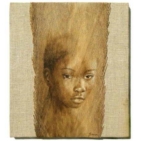 Peinture à l\u0027acrylique sur fibre de cocotier marouflée sur bois ou