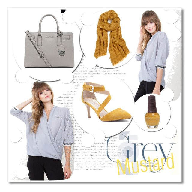 """""""Gray & Mustard"""" by bellaeve ❤ liked on Polyvore featuring MICHAEL Michael Kors, Sole Society, Renee's NYC, SpaRitual, yellow, gray, mustard and fallfashion"""