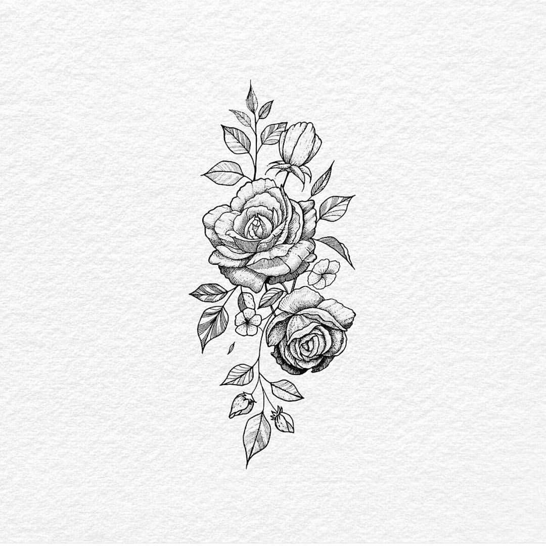 Floraldesign Tattoo Drawing Flower Sketch Image Art Rose Photo By Blackworkillustrations Follow E Rose Flower Tattoos Tattoos Floral Tattoo Design