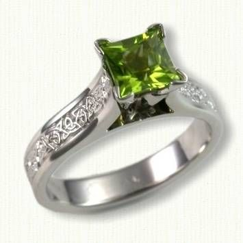 14kt White Gold Celtic Maureen Engagement Ring with the Triangle Knot Work on Shank set with a 6 x 6 mm Princess Cut Peridot