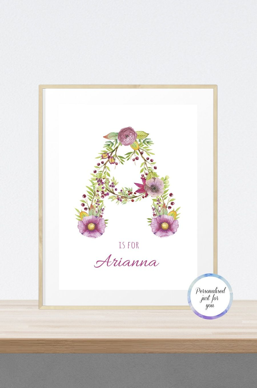 personalised floral initials print with option to add birth personalised floral initials print with option to add birth details only 12 for a4 size