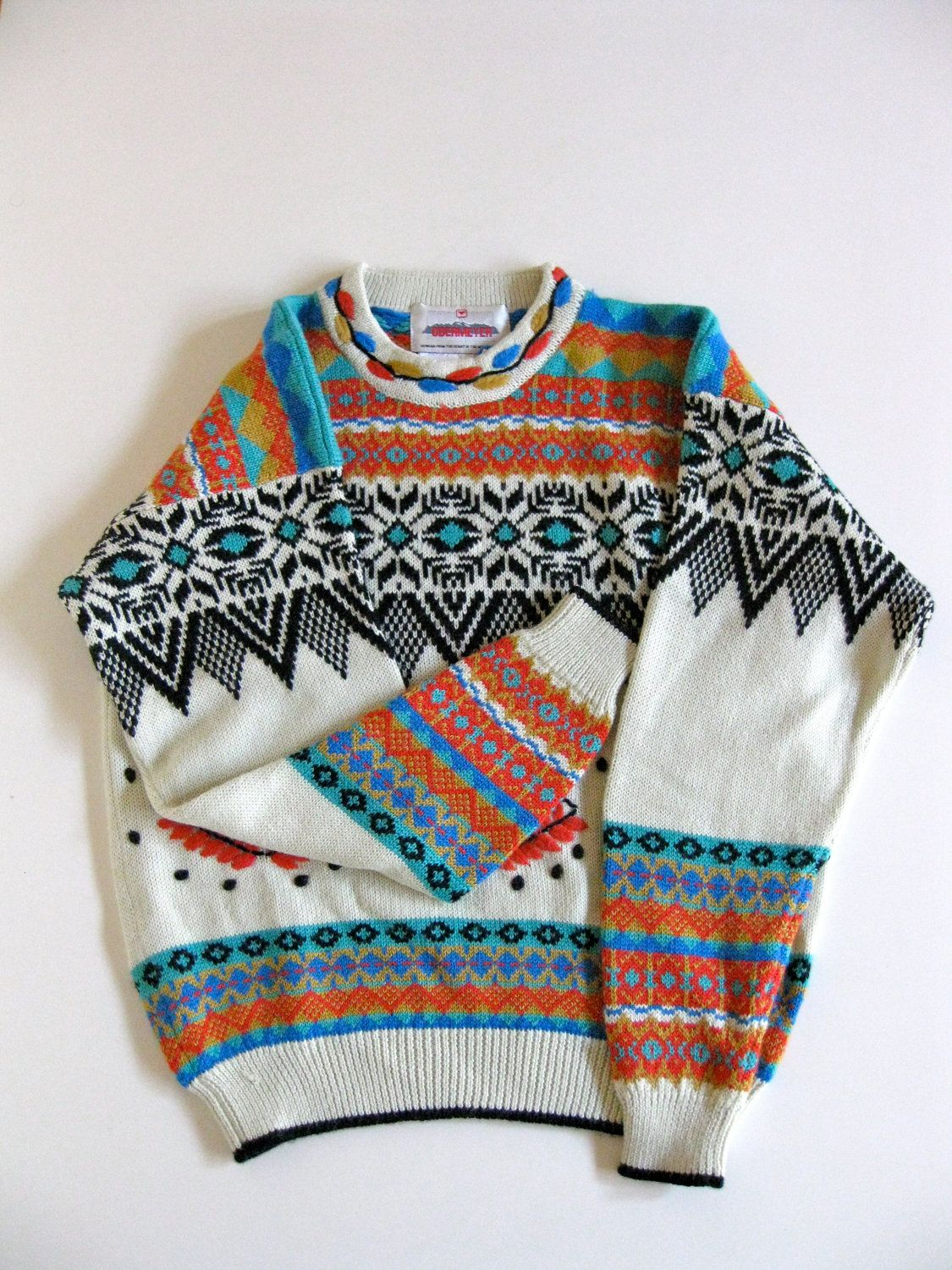 Knitting Patterns For Nordic Sweater : Vintage Obermeyer Ski Nordic Pattern Cozy Wool Sweater ...