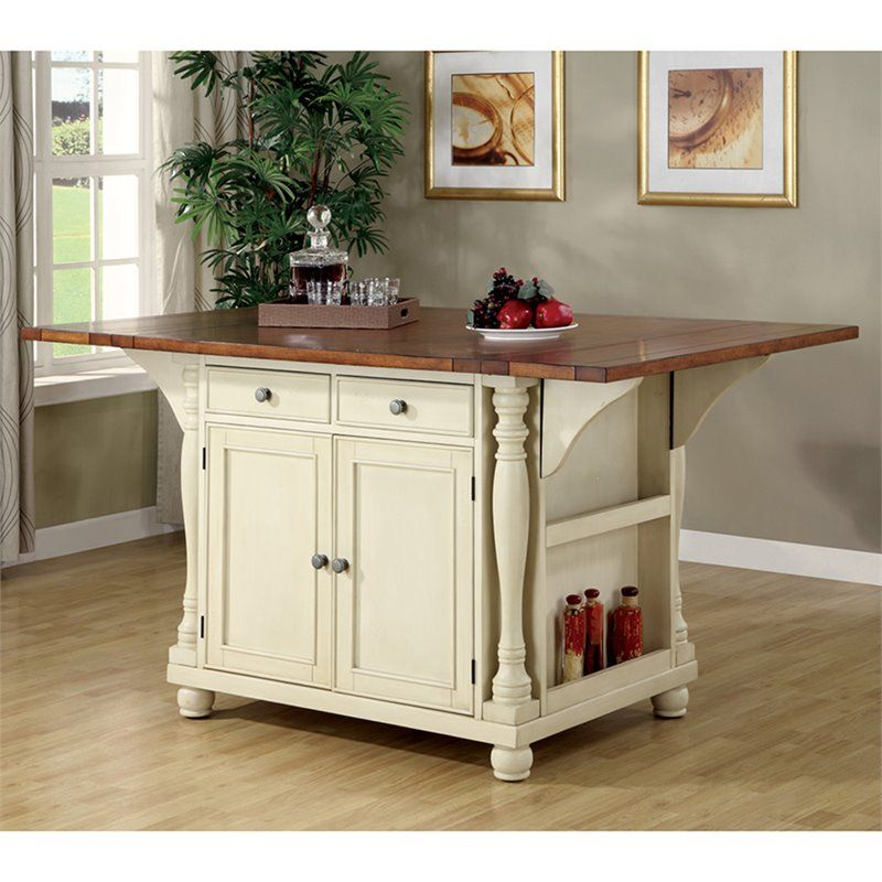 Coaster Slater Drop Leaf Kitchen Island In Brown And