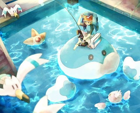 I love Pokemon Fishing art. It makes me feel peaceful and happy. It's actually kinda weird; it sort of makes me feel like I get sucked into the natural beauty of the Pokemon world & our own. I don't know...... I'll stop talking  now.