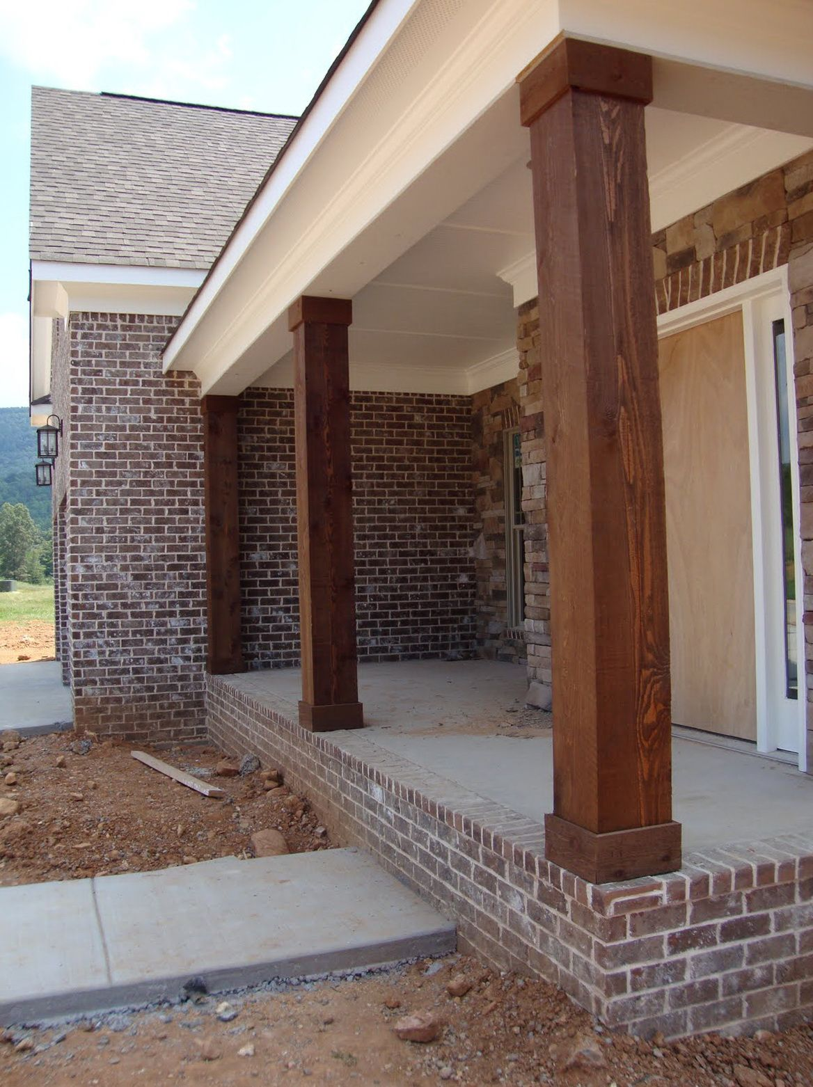 Wooden porch posts and columns the rickety brick house for Garage column wrap