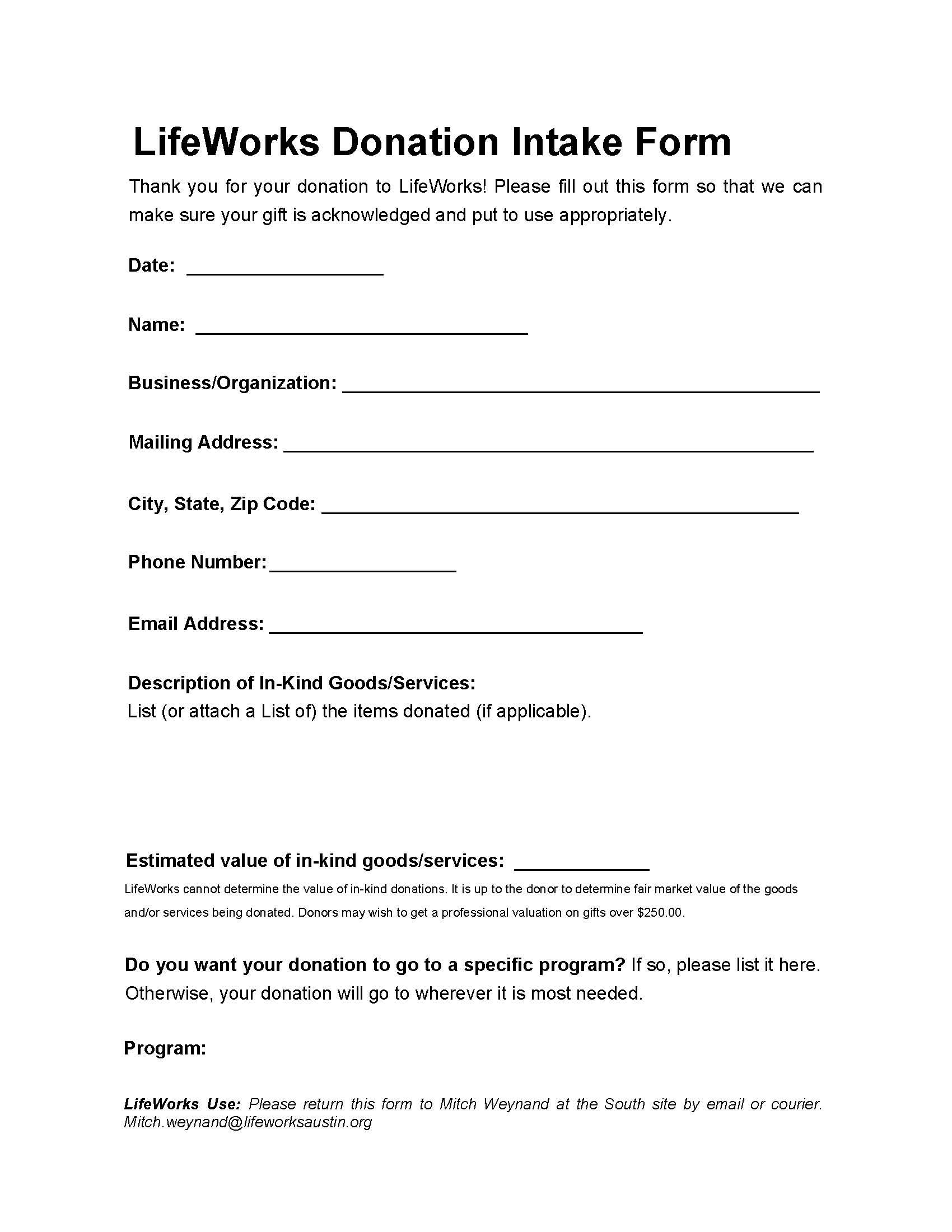 All Donations To Lifeworks Are Tax Deductible Be Sure To Bring A Copy Of The Donation Intake
