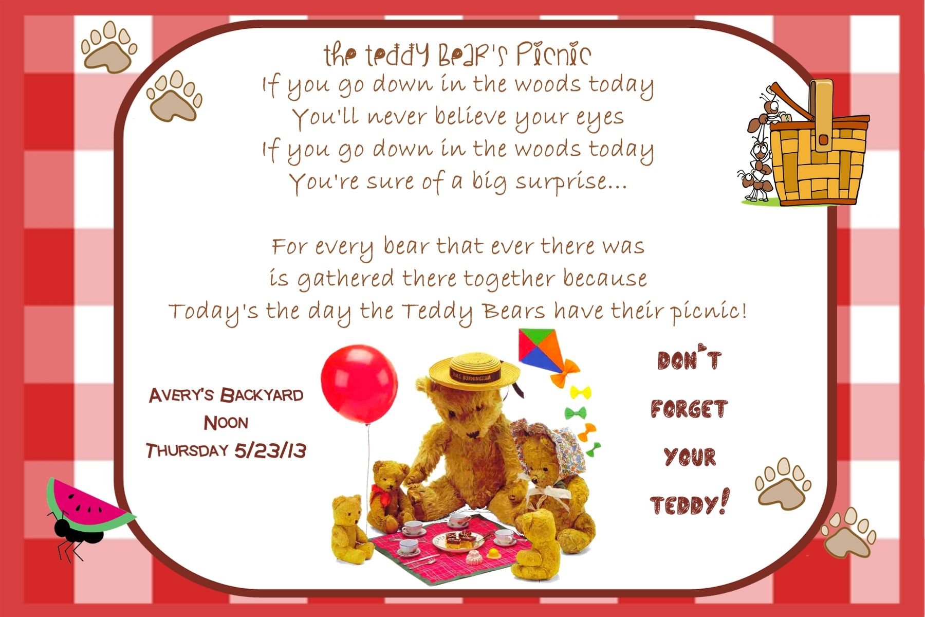 Teddy Bear Picnic Invite | Birthday Teddy Bears Picnic | Pinterest ...