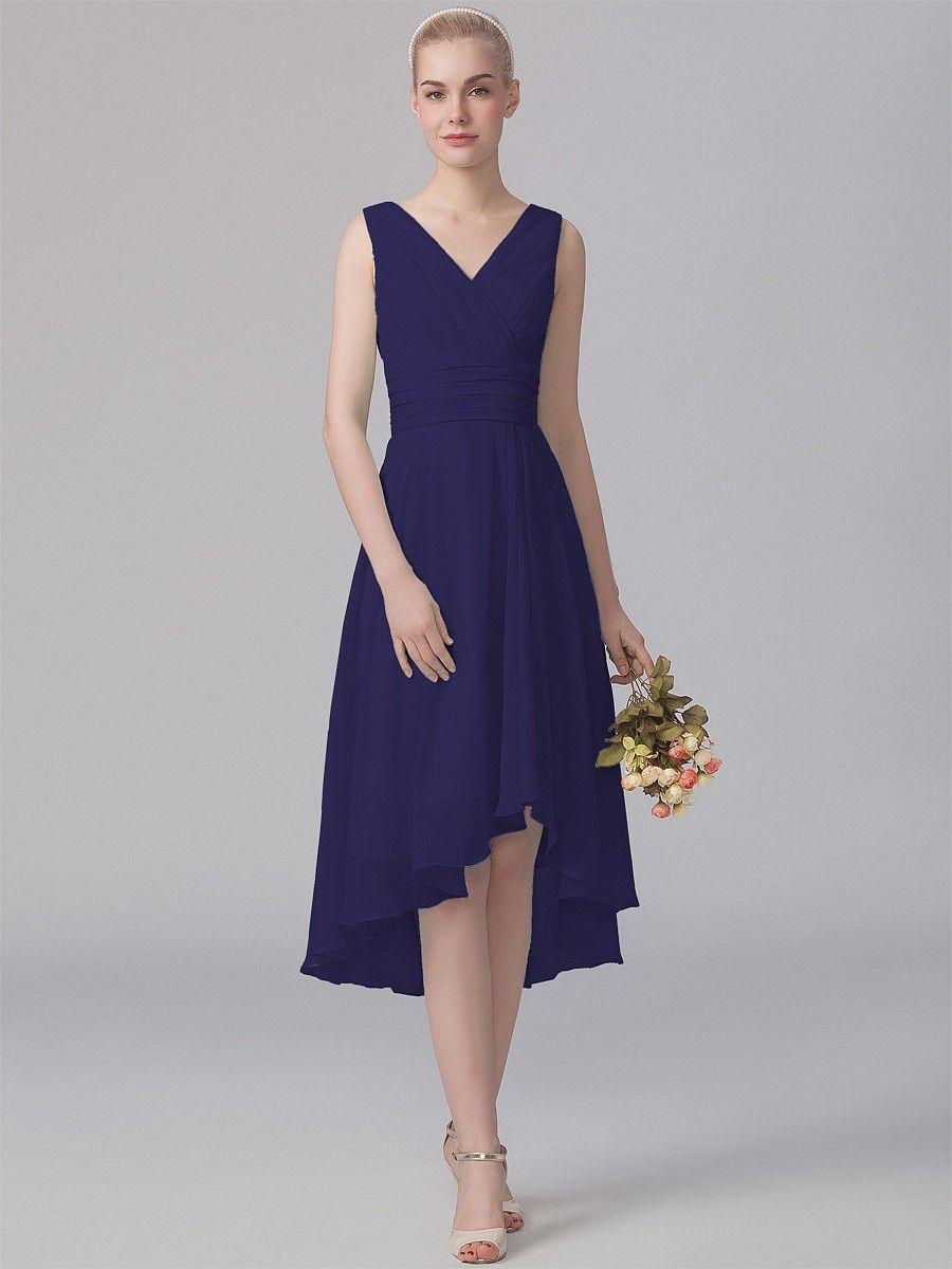 Pin to Win a Wedding Gown or 5 Bridesmaid Dresses! Simply pin your favorite dresses on www.forherandforhim.com to join the contest! | V-neck High-low Dress A$173.75