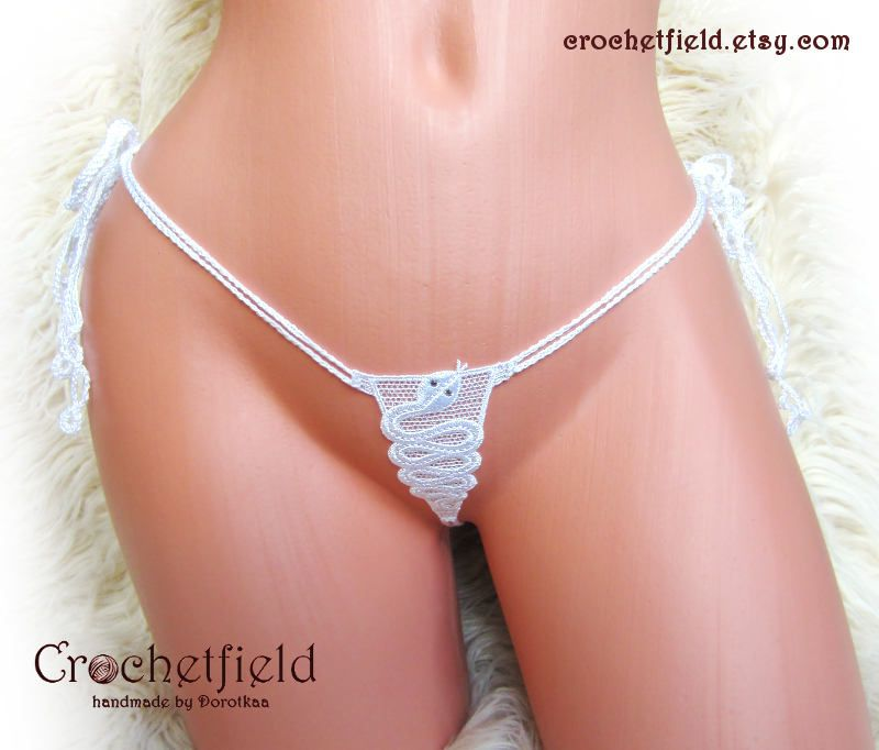 aa413e209d49 White SNAKE mini open thong, ouvert panties, embroidery lace, micro  g-string, crochet erotic lingerie, gift for her, crotchless