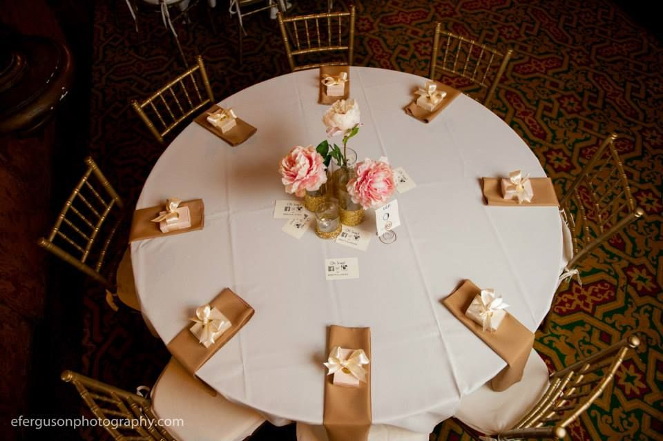 Brenna chose cream linens, with gold napkins, custom gold glittered vases and silk pink and cream peonies. Www.luvulila.etsy.com