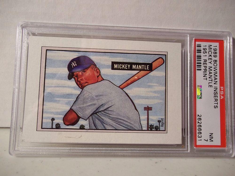1989 bowman mickey mantle inserts psa nm 7 baseball card