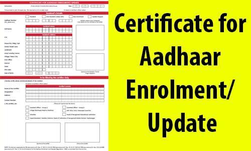 Certificate for Aadhaar Enrolment Update - Aadhaar Card