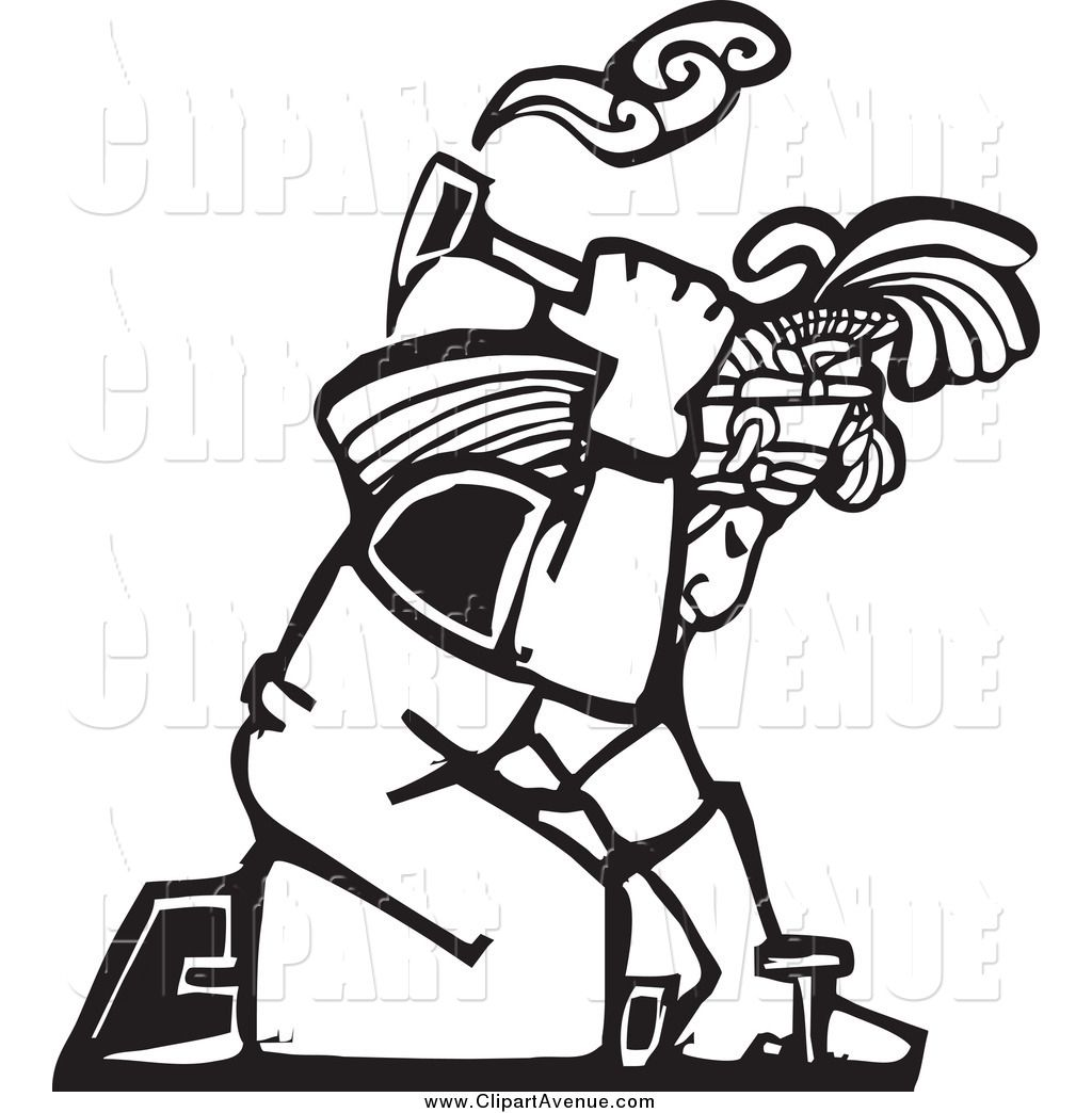 Avenue Clipart Of A Black And White Woodcut Mayan Roofer