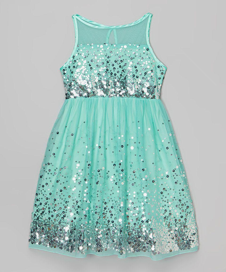 This emerald sundae mint u silver sequin dress girls by emerald
