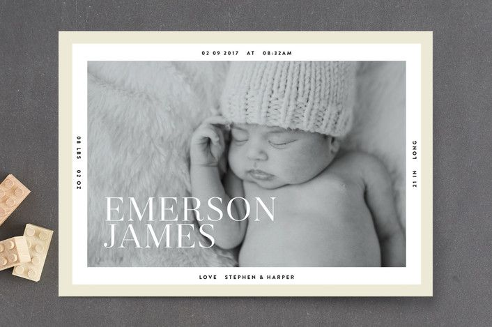 Modern Border Birth Announcement Petite Cards by L... | Minted