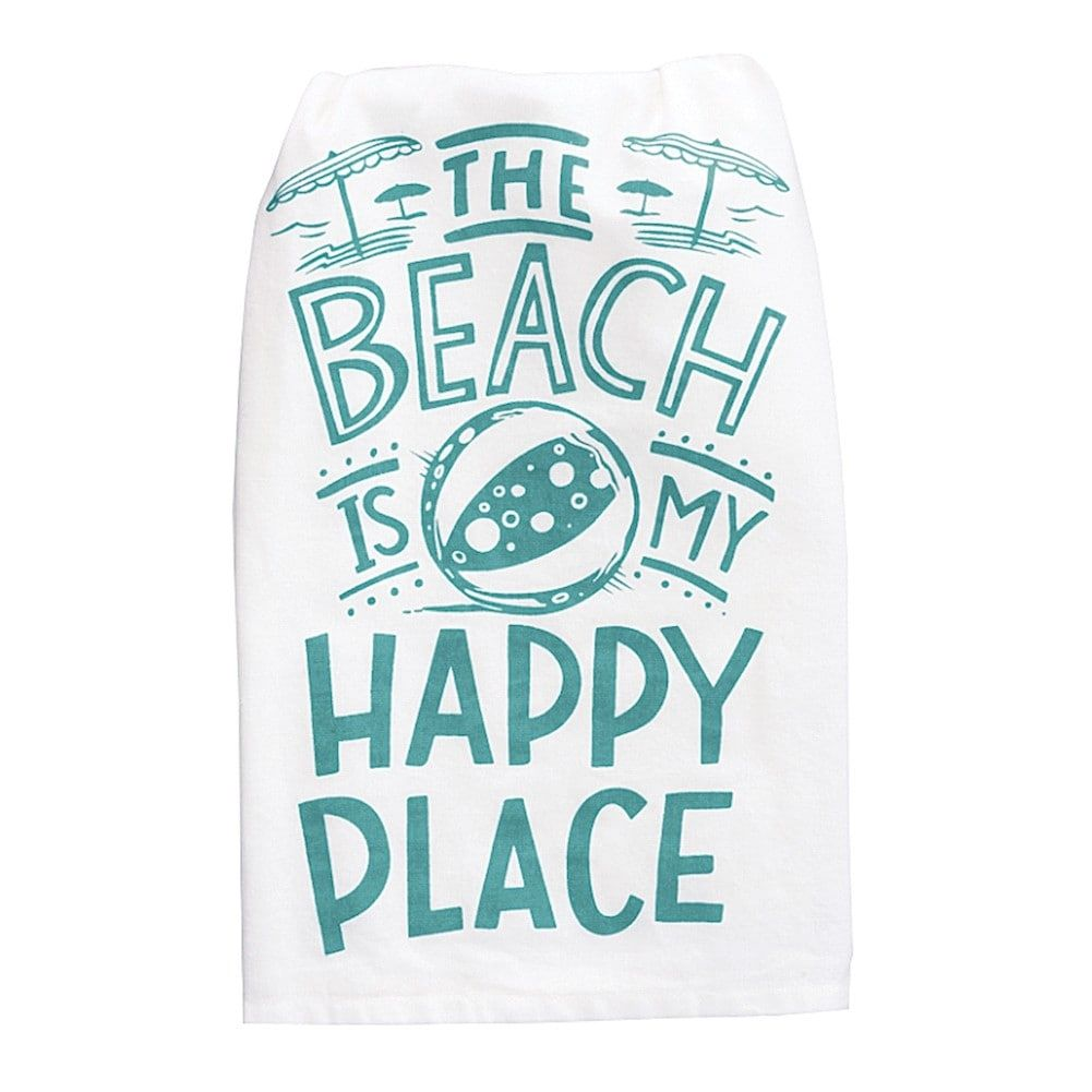 Happy Place Dish Towel - Kitchen Linens Tea Hand Towel - Beach ...