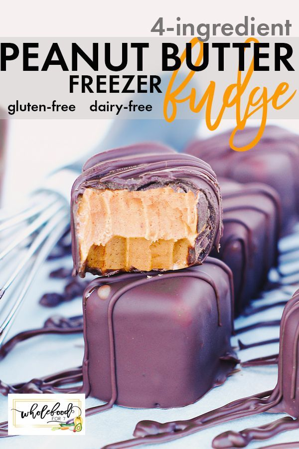 4-Ingredient Peanut Butter Cup Fudge - WholeFoodFo