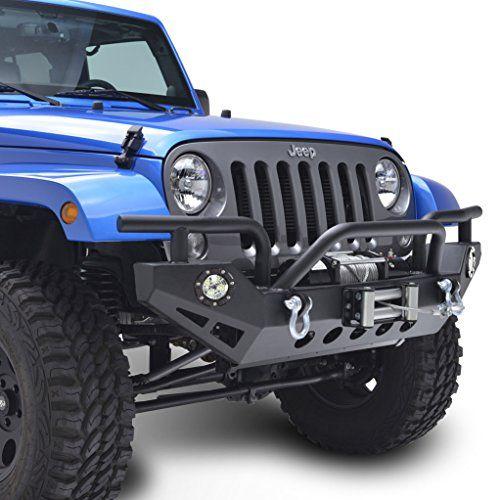 E-Autogrilles 07-16 Jeep Wrangler JK Textured Black Rock Crawler Front Bumper with LED Light & 2x D-Ring (51-0307L)