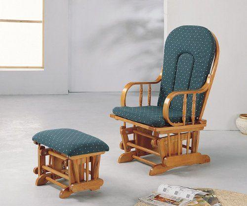 Amazon Com Country Oak Finish Wood Glider Rocker Rocking Chair W