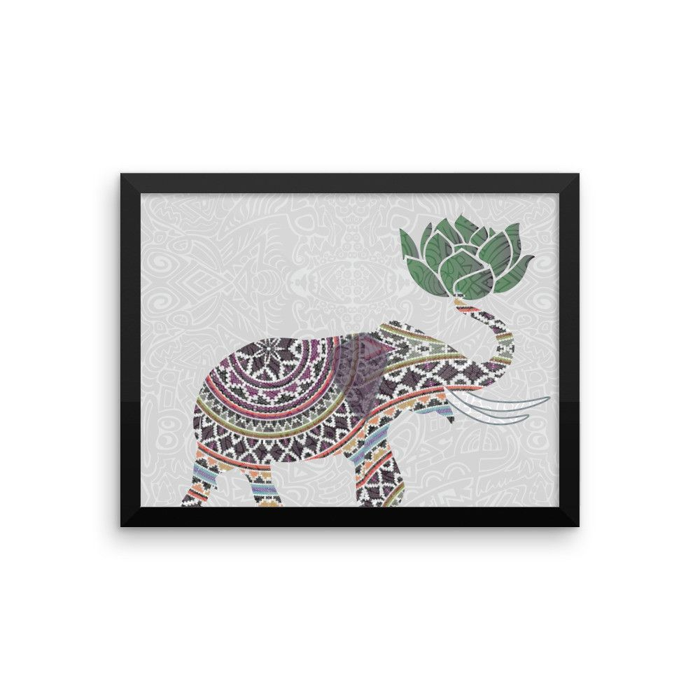 Framed Elephant Art Print Indian With Lotus Flower Design Mp Rose