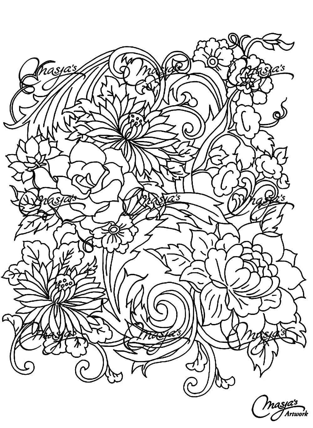 Free coloring page «coloring-adult-drawing-flower