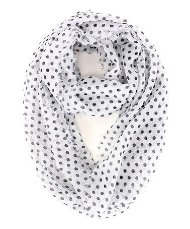 Love this White & Black Polka Dot Infinity Scarf on #zulily! #zulilyfinds