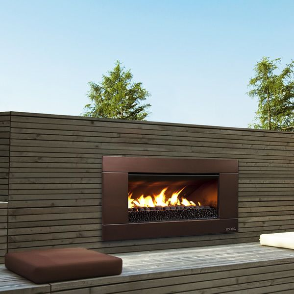 Escea Outdoor Gas Florentine Bronze Fireplace Ferro Front